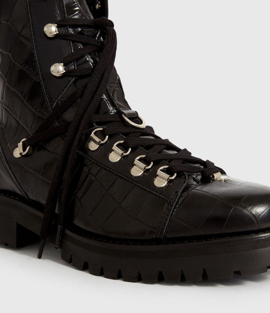 Women's Franka Crocodile Boot (black_croc) - Image 4
