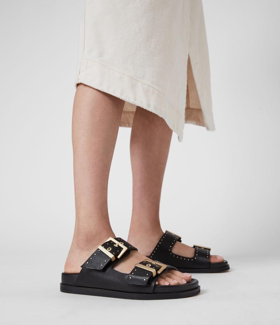 Women's Mae Leather Sandals (black) - Image 2