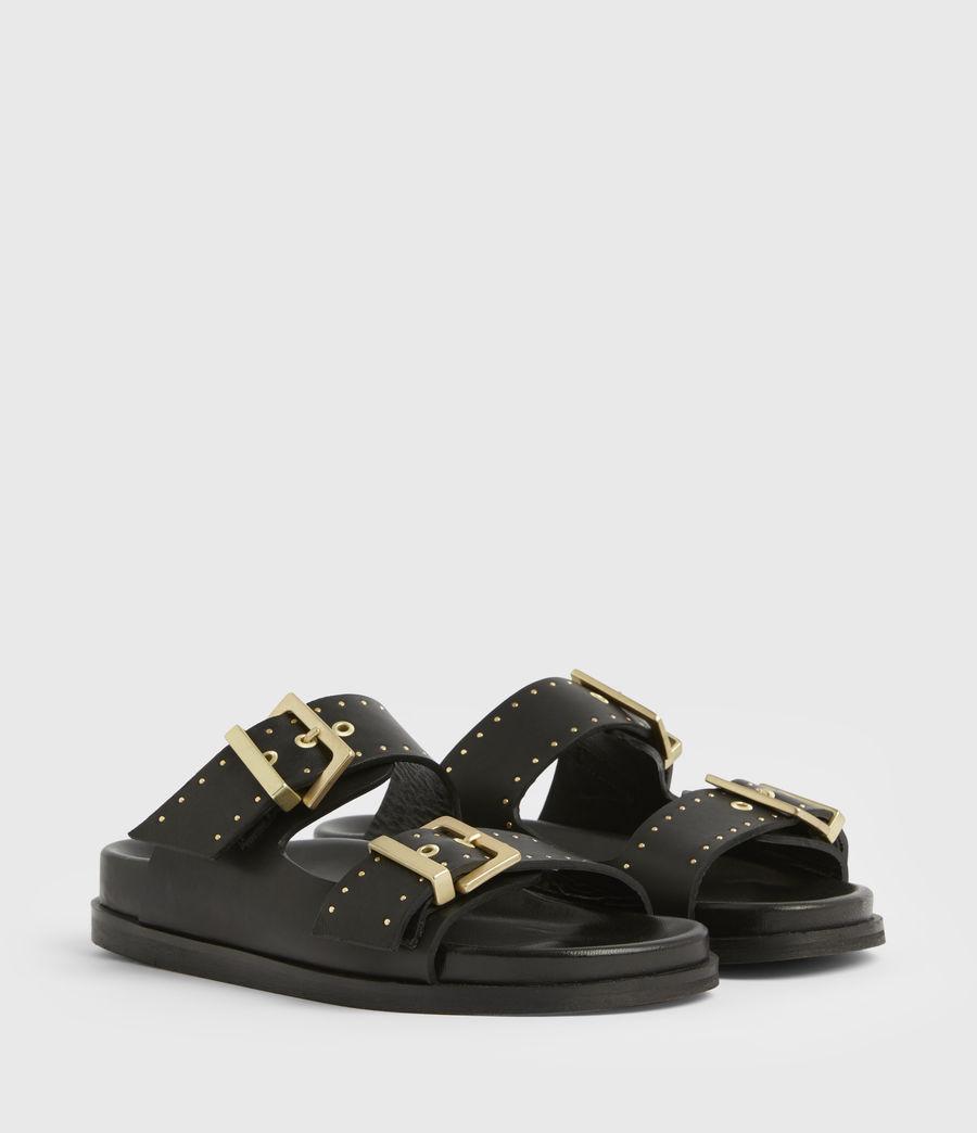 Women's Mae Leather Sandals (black) - Image 4