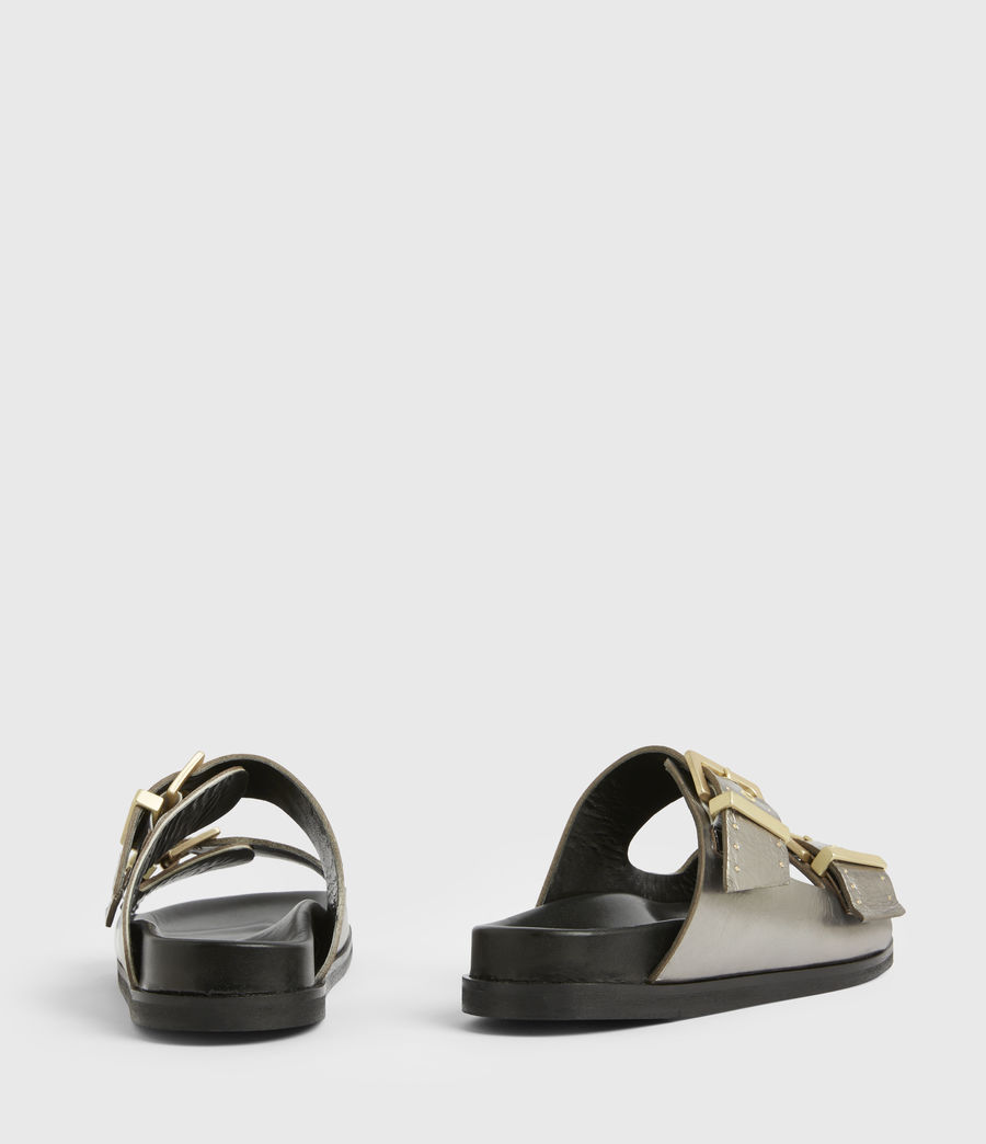 Womens Mae Leather Sandals (silver) - Image 6