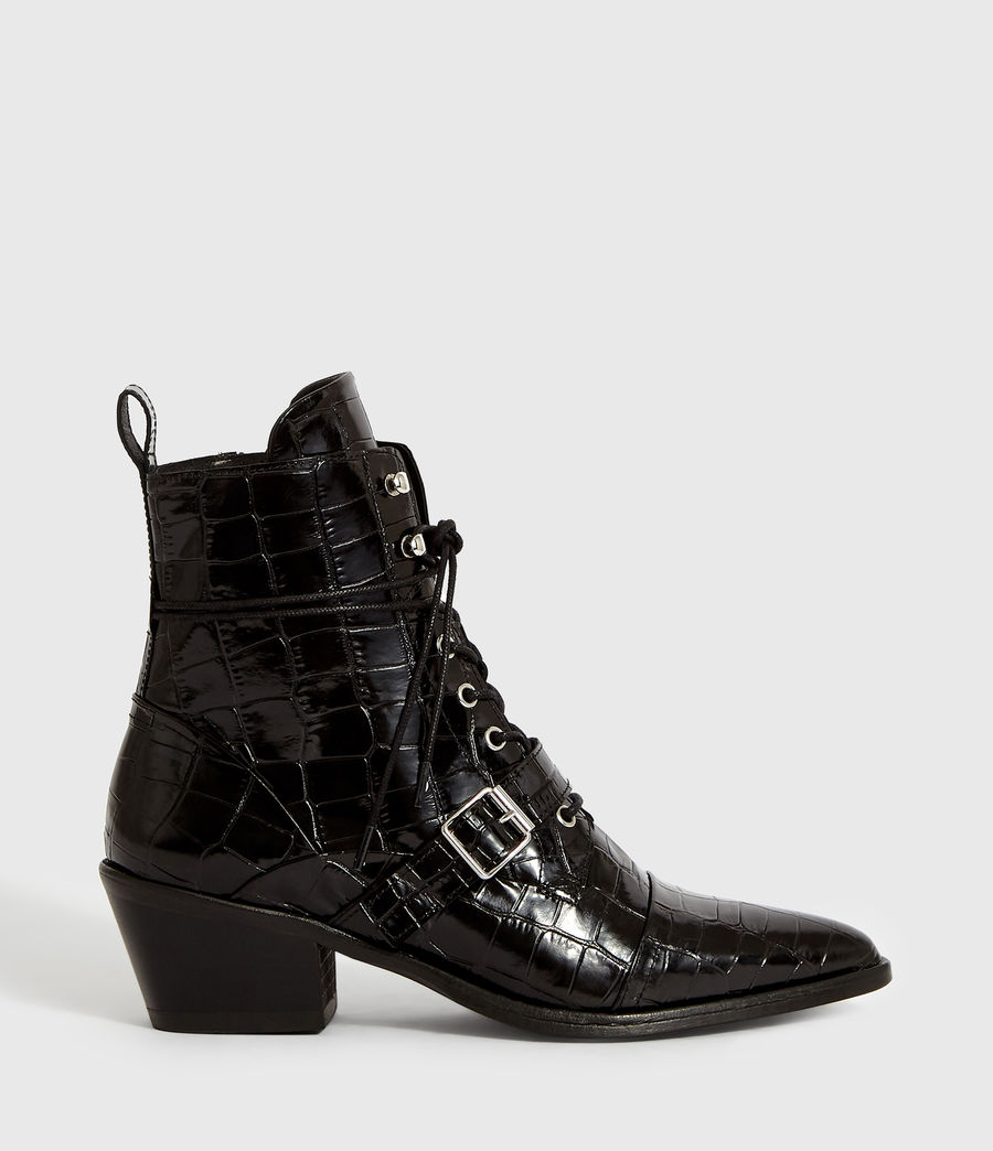 Women's Katy Crocodile Boot (black_croc) - Image 1