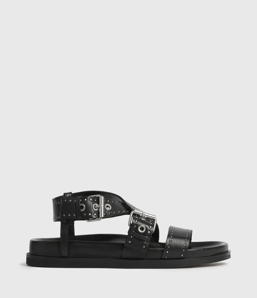 Womens Nina Leather Sandals (black) - Image 1