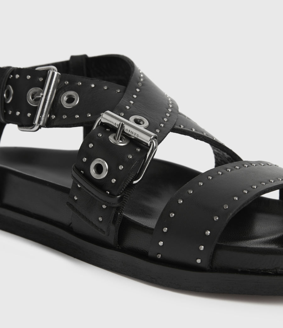 Womens Nina Leather Sandals (black) - Image 2