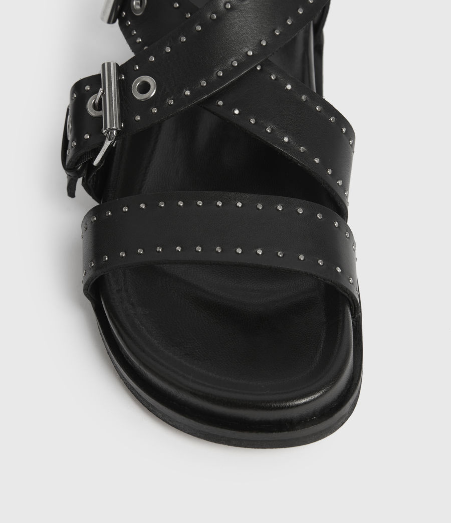 Womens Nina Leather Sandals (black) - Image 4