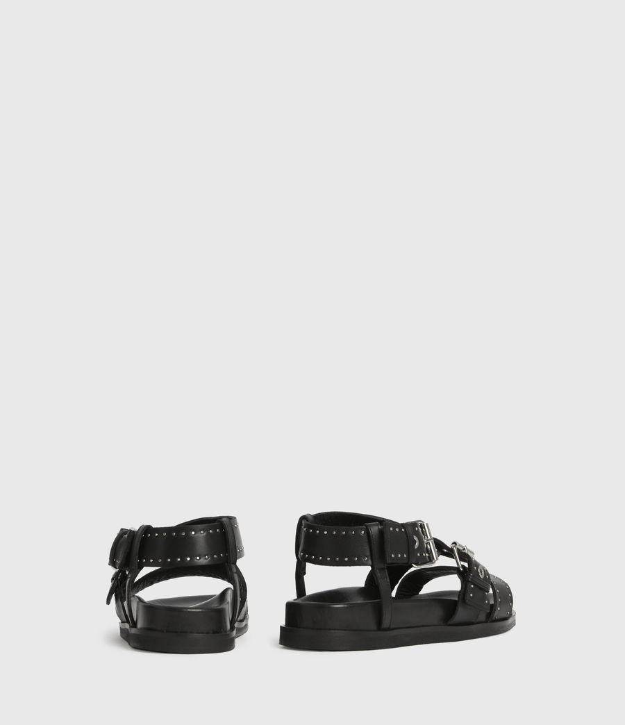 Womens Nina Leather Sandals (black) - Image 5