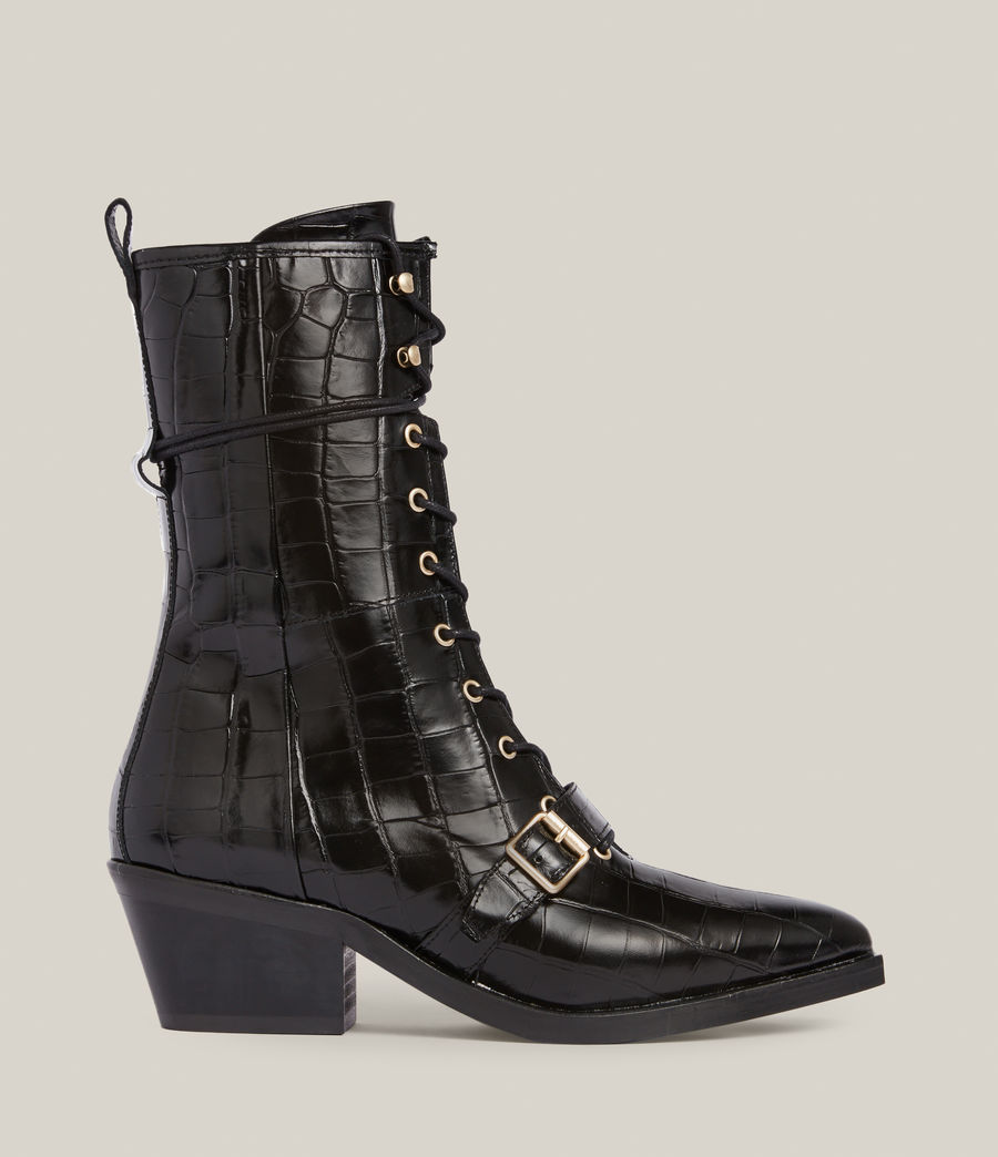 Women's Kaylee Leather Croc Boots (black) - Image 1