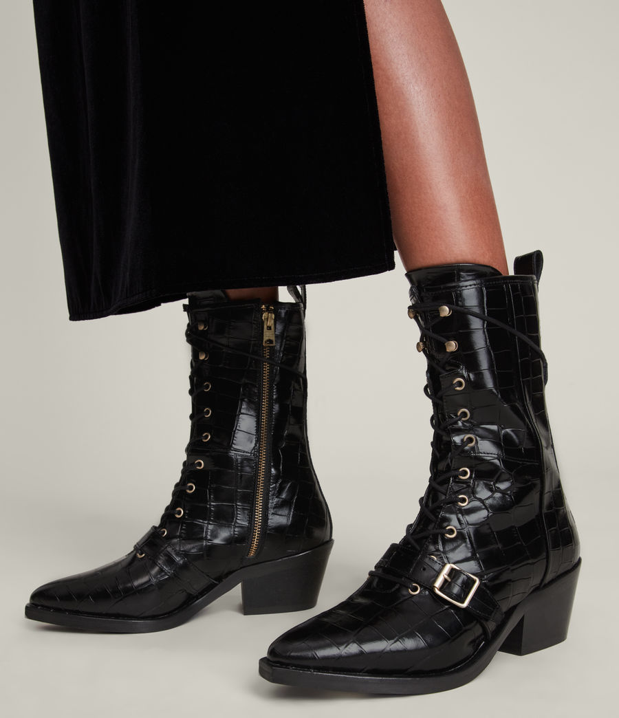 Women's Kaylee Leather Croc Boots (black) - Image 2