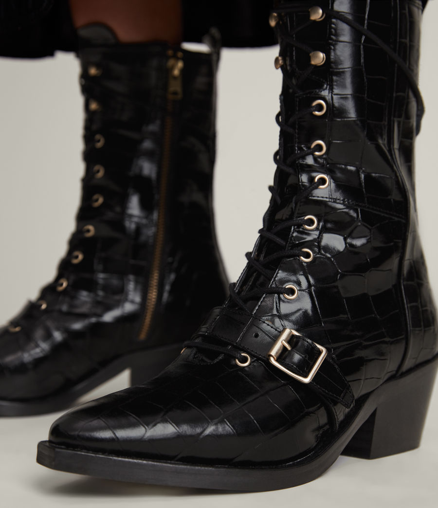 Women's Kaylee Leather Croc Boots (black) - Image 4