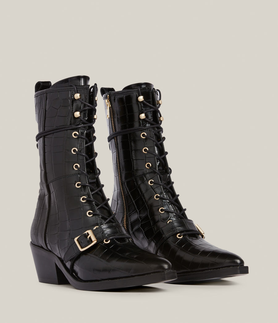 Women's Kaylee Leather Croc Boots (black) - Image 5