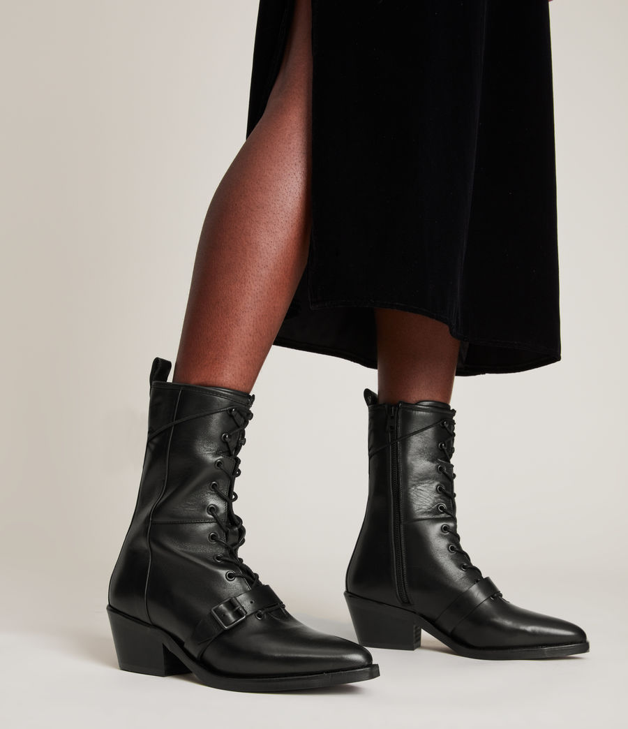 Women's Kaylee Leather Boots (black) - Image 2