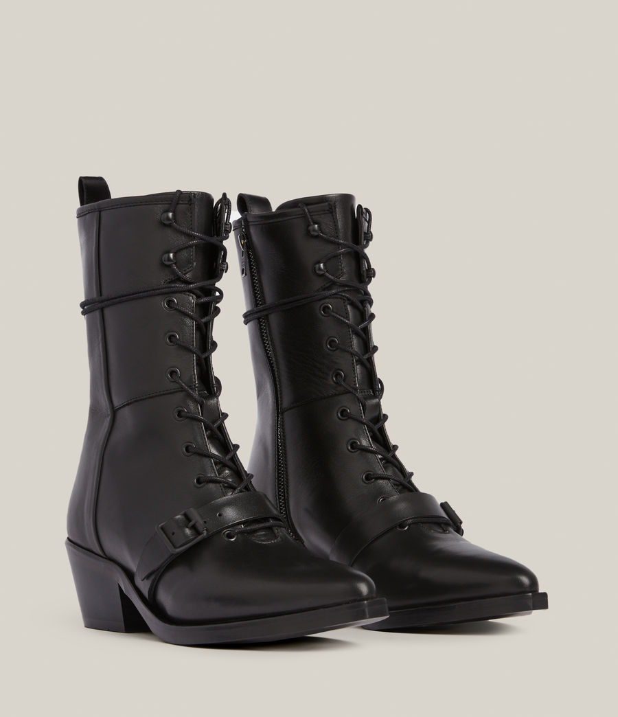 Women's Kaylee Leather Boots (black) - Image 4