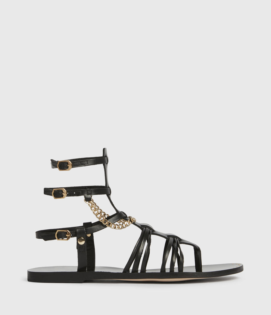 Women's Gelda Leather Sandals (black) - Image 1