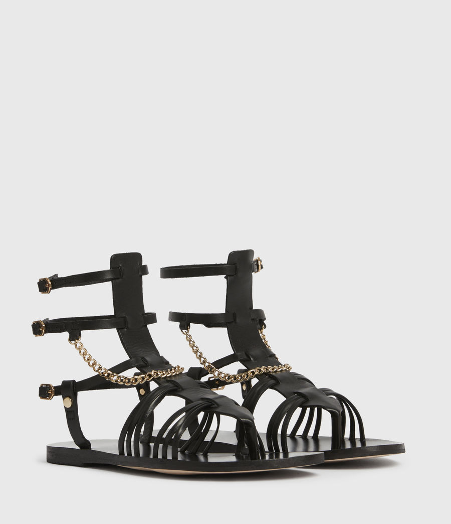 Women's Gelda Leather Sandals (black) - Image 3
