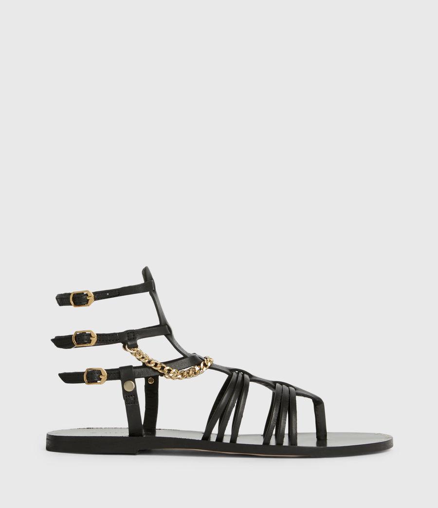 Women's Gelda Flat Leather Sandals (black) - Image 1