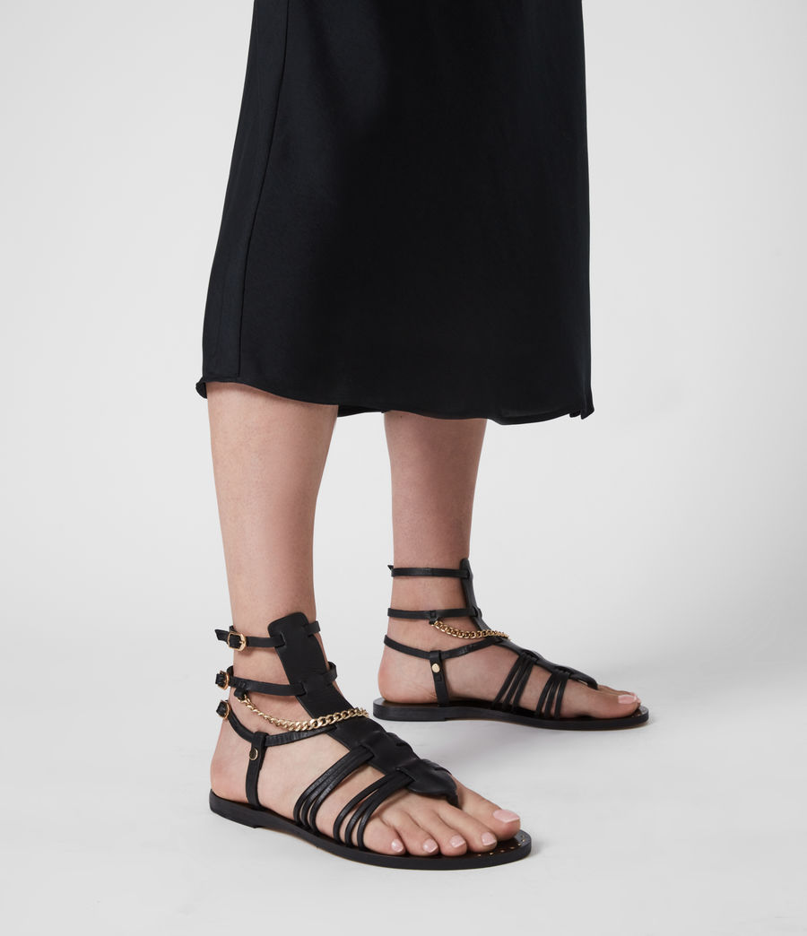 Women's Gelda Flat Leather Sandals (black) - Image 2