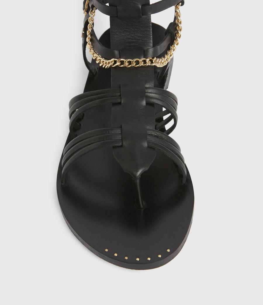 Women's Gelda Flat Leather Sandals (black) - Image 3