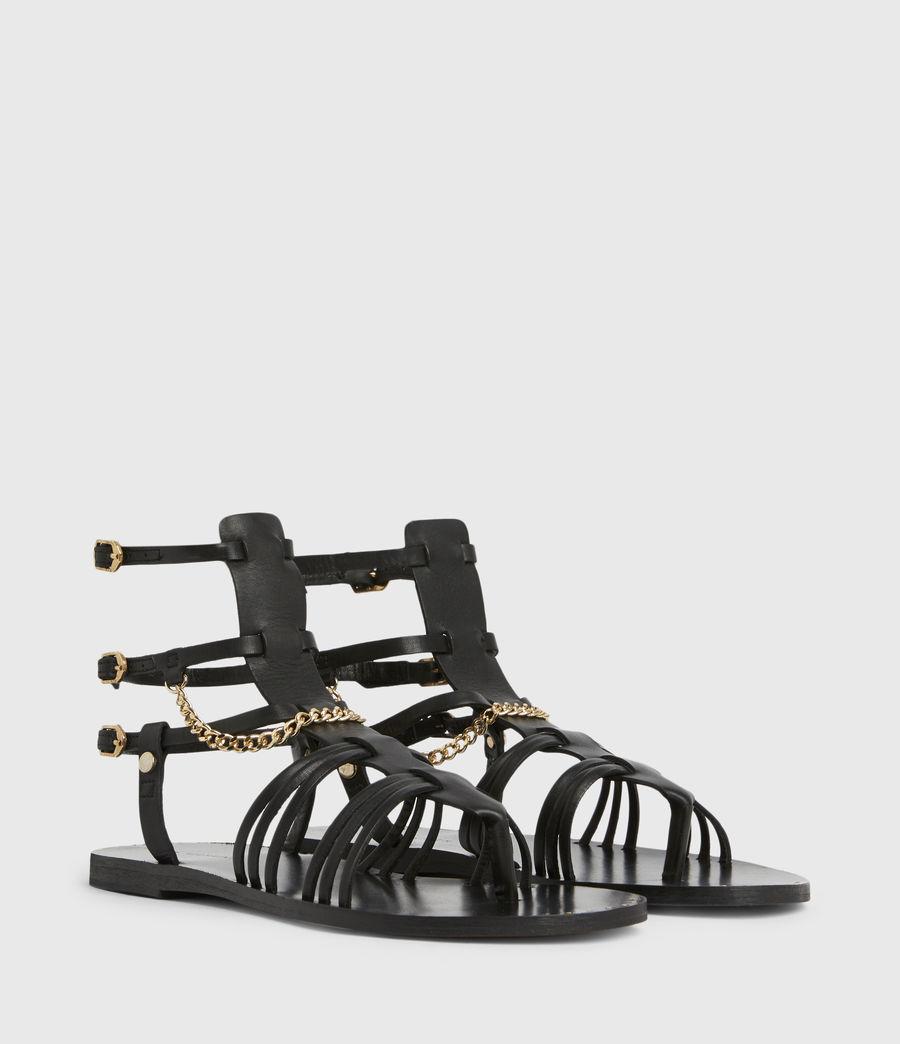 Women's Gelda Flat Leather Sandals (black) - Image 4