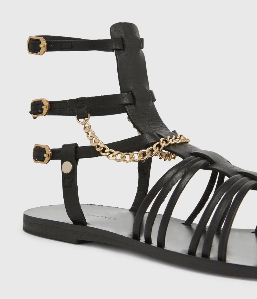 Women's Gelda Flat Leather Sandals (black) - Image 5
