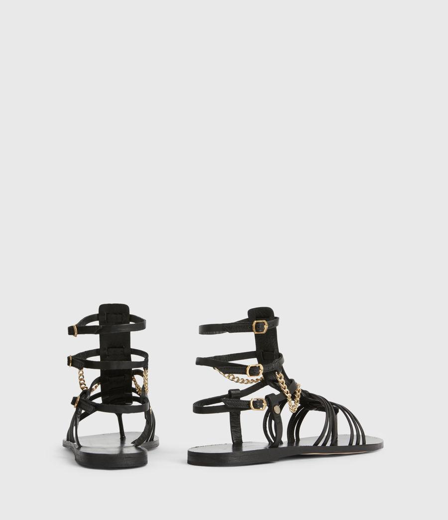 Women's Gelda Flat Leather Sandals (black) - Image 6