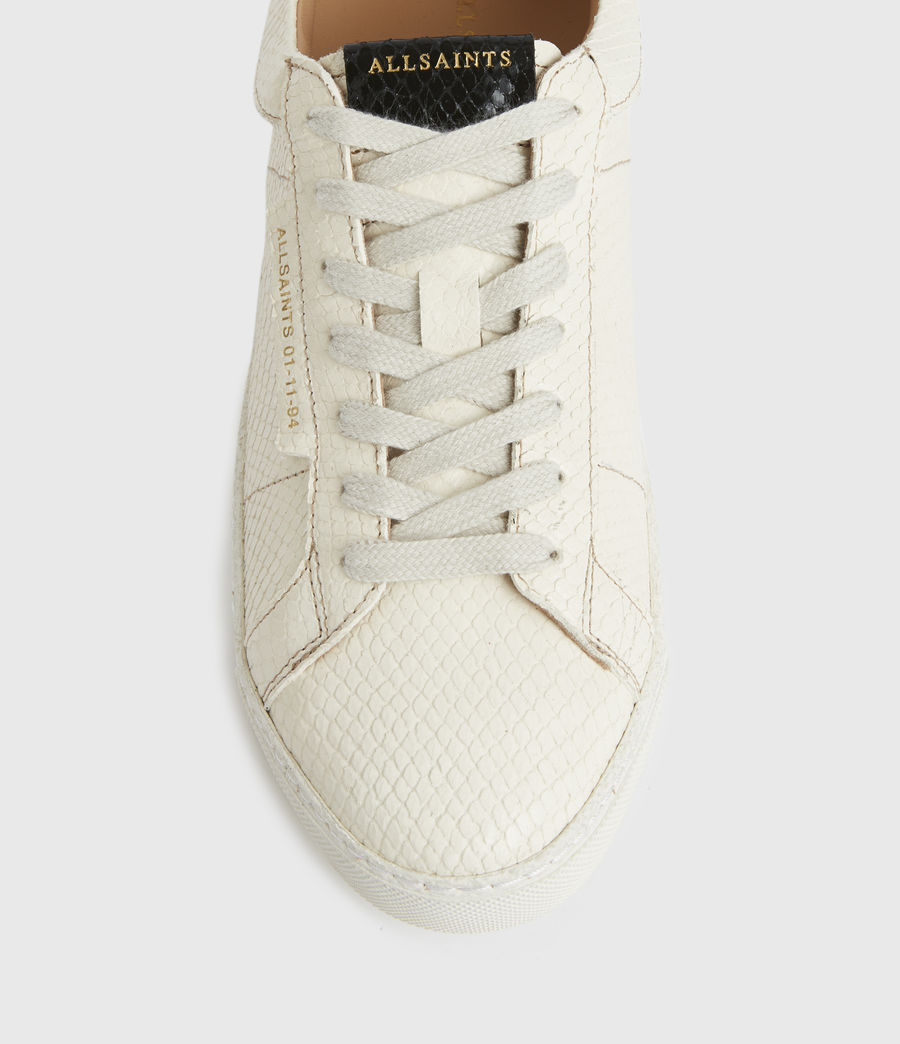 Femmes Sheer Snake Leather Trainers (white) - Image 2