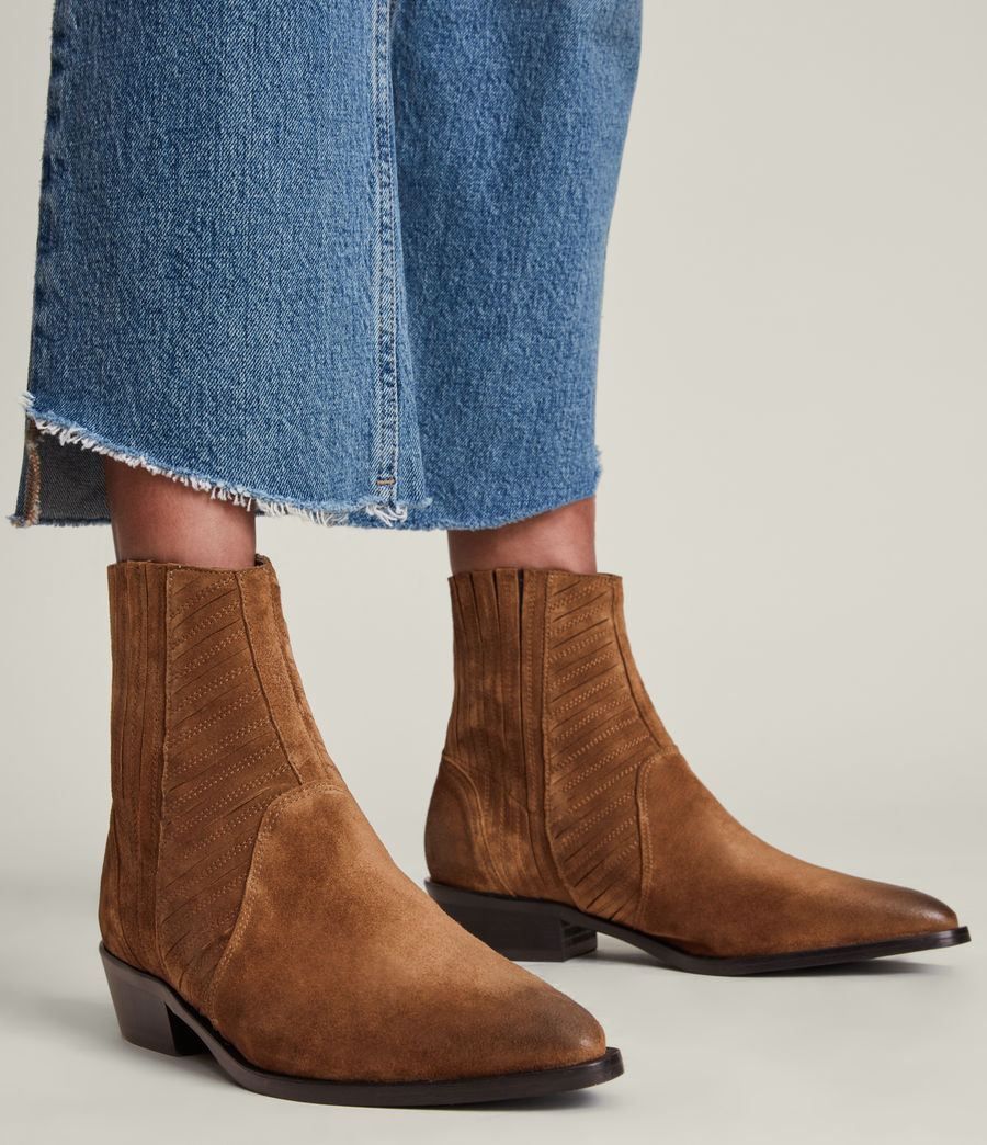 Women's Fion Suede Boots (dark_tan) - Image 2