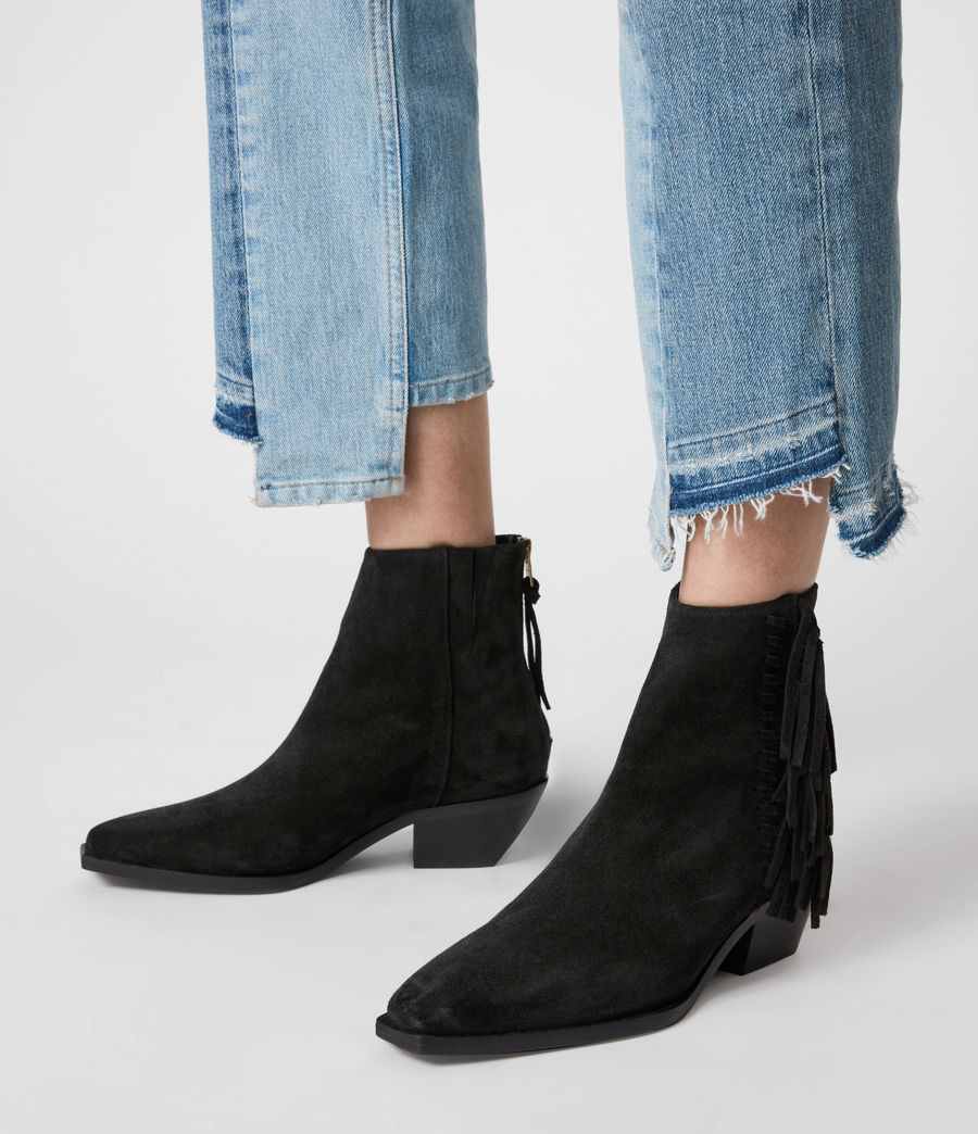 Women's Layla Suede Fringe Boots (black) - Image 2