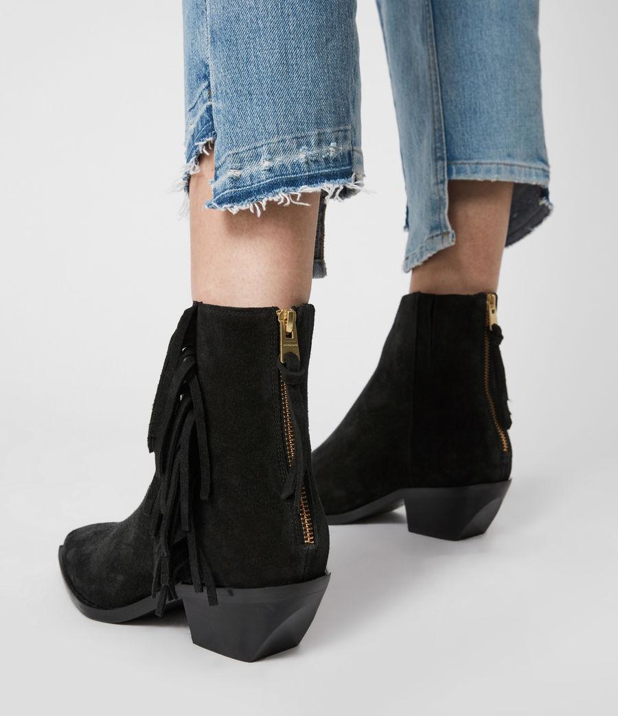 Women's Layla Suede Fringe Boots (black) - Image 4