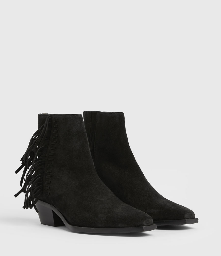 Women's Layla Suede Fringe Boots (black) - Image 5