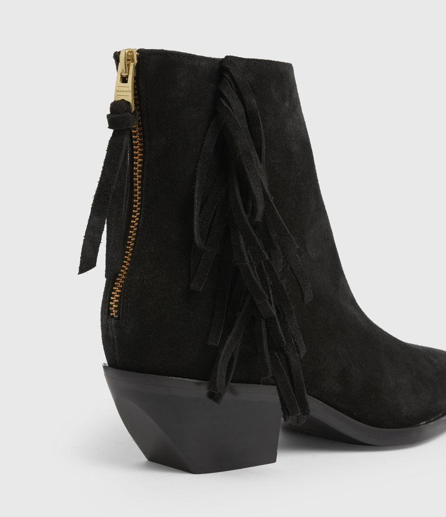 Women's Layla Suede Fringe Boots (black) - Image 6