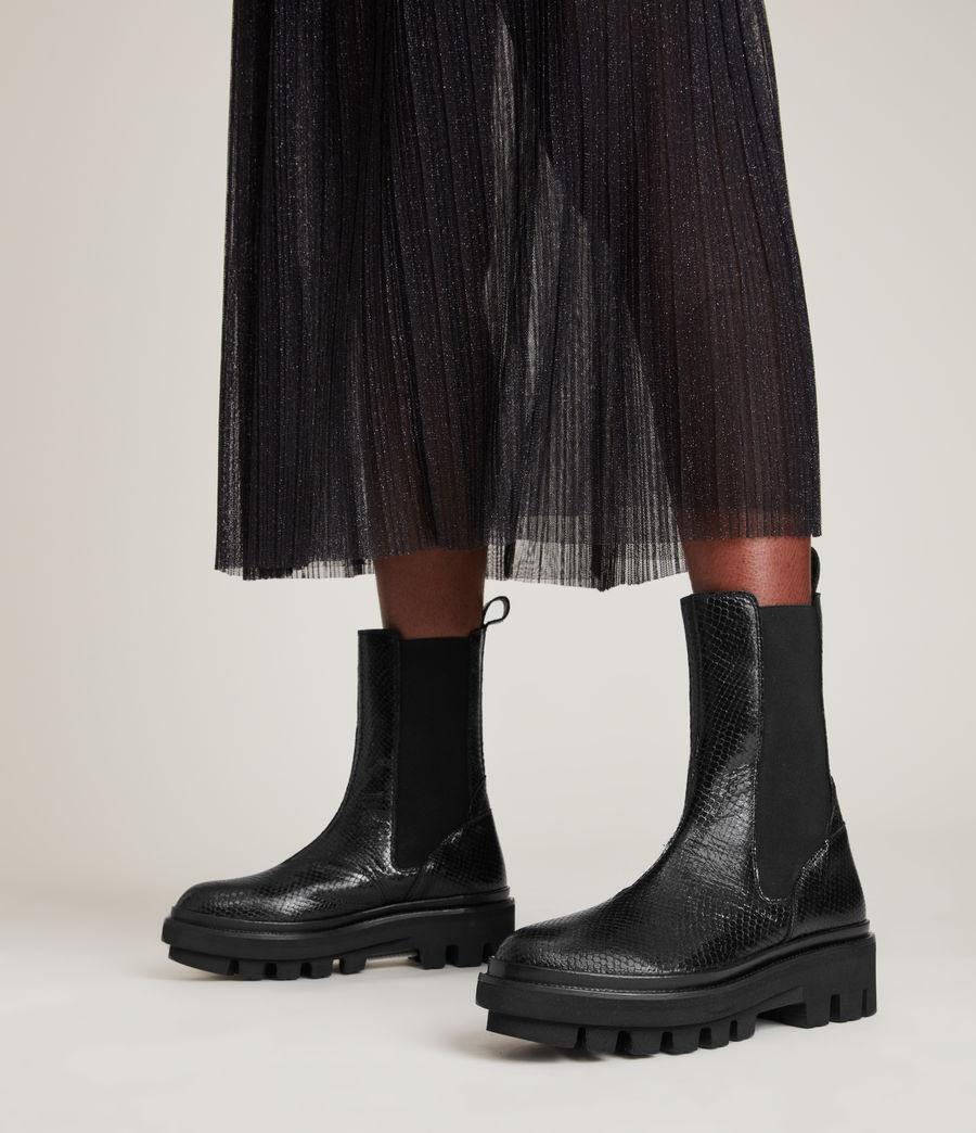 Women's Billie Leather Snake Boots (black) - Image 2