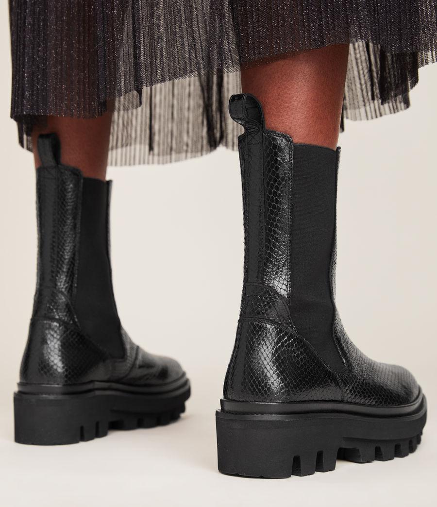 Women's Billie Leather Snake Boots (black) - Image 4