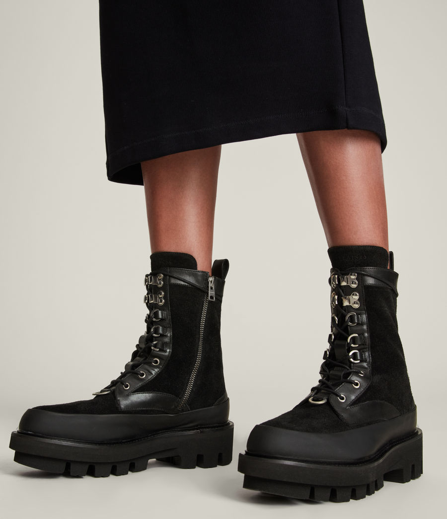 Women's Bexley Leather Suede Boots (black) - Image 2