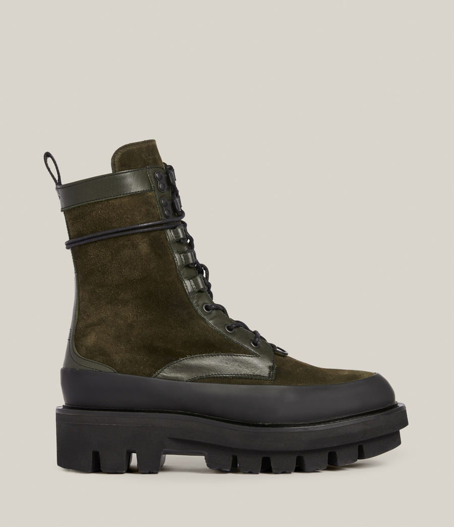 Women's Bexley Leather Suede Boots (khaki_green) - Image 1