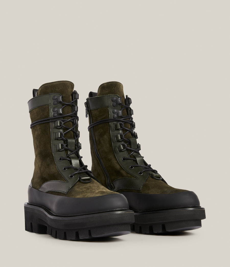 Women's Bexley Leather Suede Boots (khaki_green) - Image 3