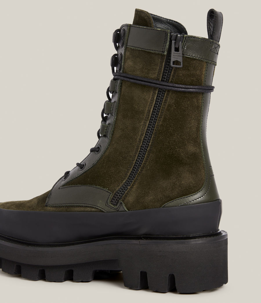 Women's Bexley Leather Suede Boots (khaki_green) - Image 4