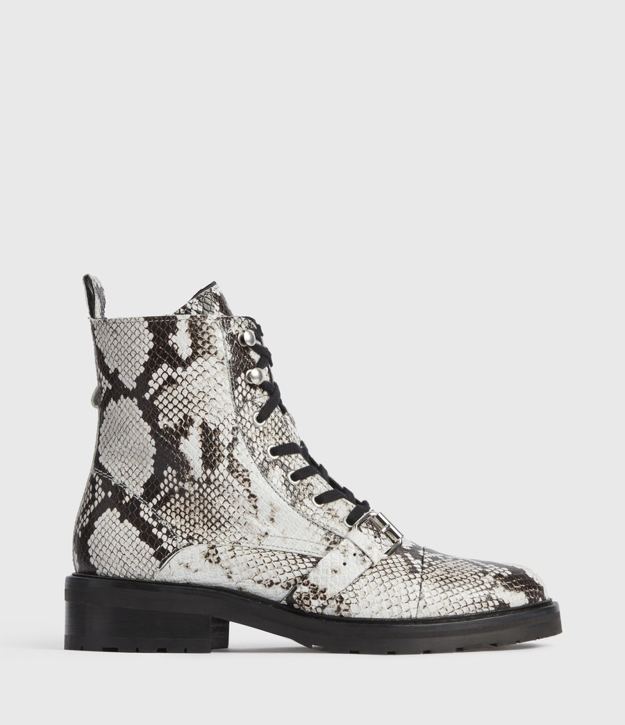 Mujer Donita Snake Leather Boots (black_white) - Image 1