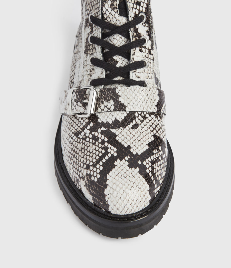 Mujer Donita Snake Leather Boots (black_white) - Image 2
