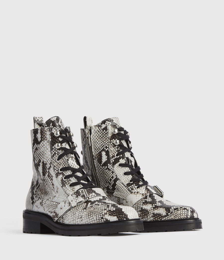 Mujer Donita Snake Leather Boots (black_white) - Image 3