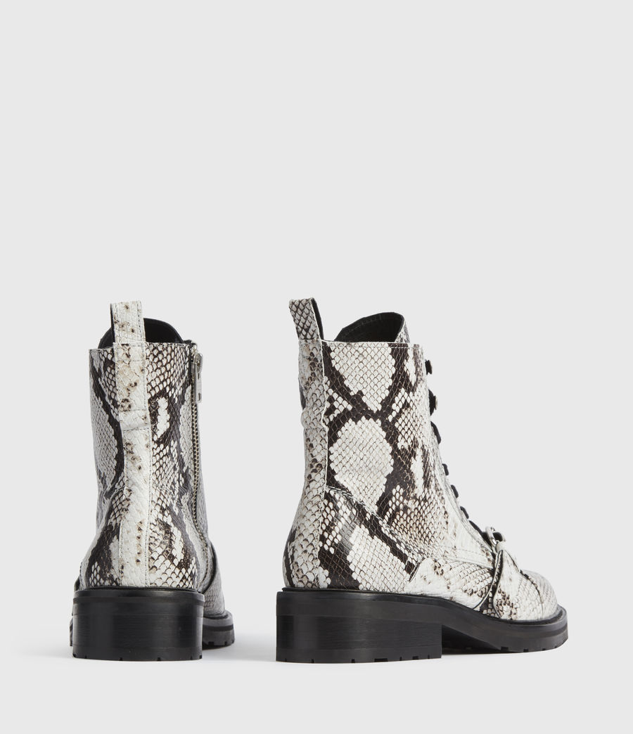 Mujer Donita Snake Leather Boots (black_white) - Image 5