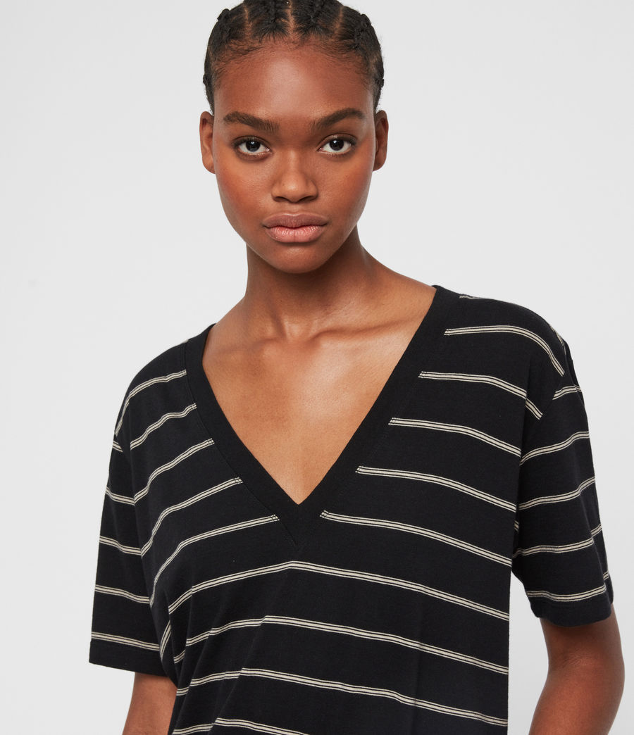 Damen Saro Stripe T-Shirt (black_ecru_white) - Image 2
