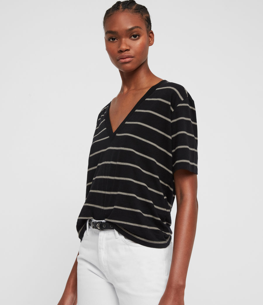 Damen Saro Stripe T-Shirt (black_ecru_white) - Image 4