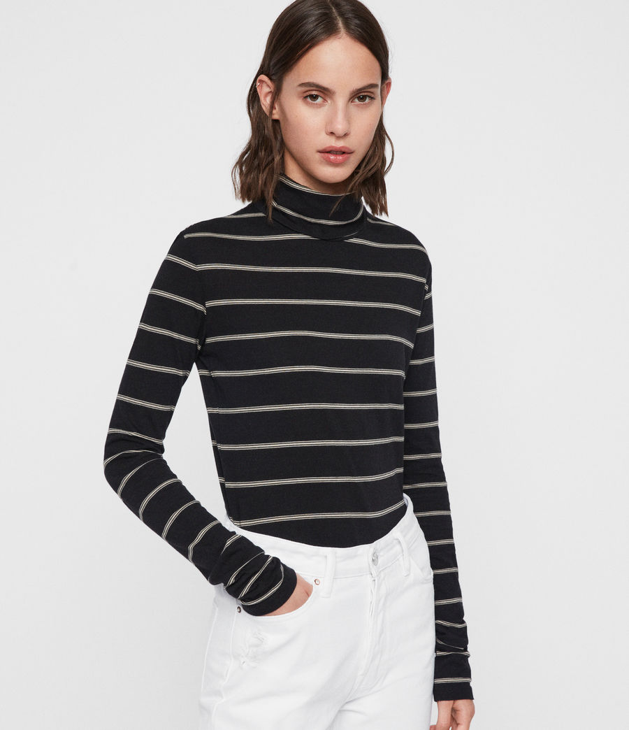 Women's Esme Stripe Roll Neck Top (black_ecru_white) - Image 1