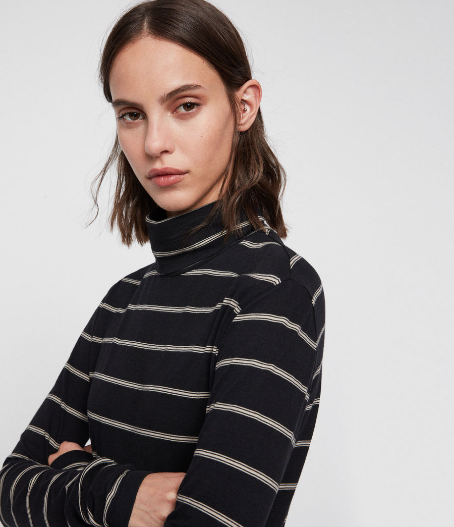 Women's Esme Stripe Roll Neck Top (black_ecru_white) - Image 2