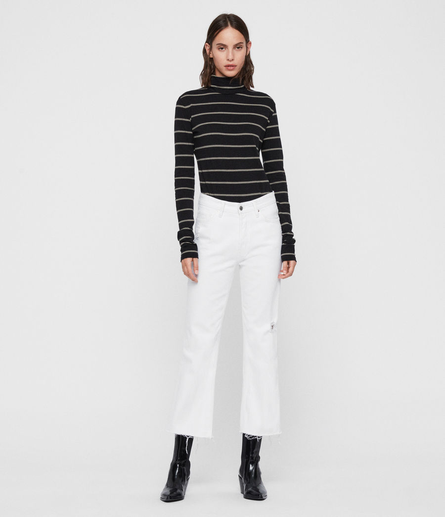 Women's Esme Stripe Roll Neck Top (black_ecru_white) - Image 3