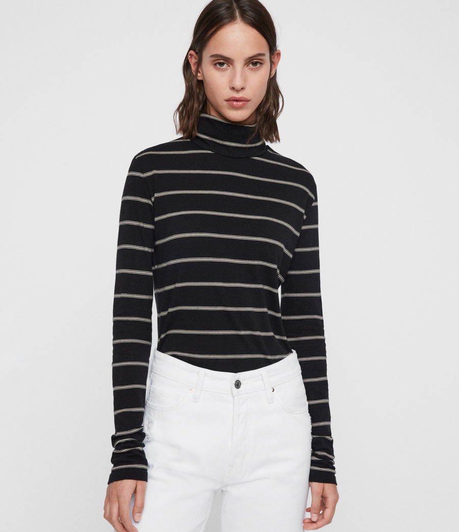 Women's Esme Stripe Roll Neck Top (black_ecru_white) - Image 4