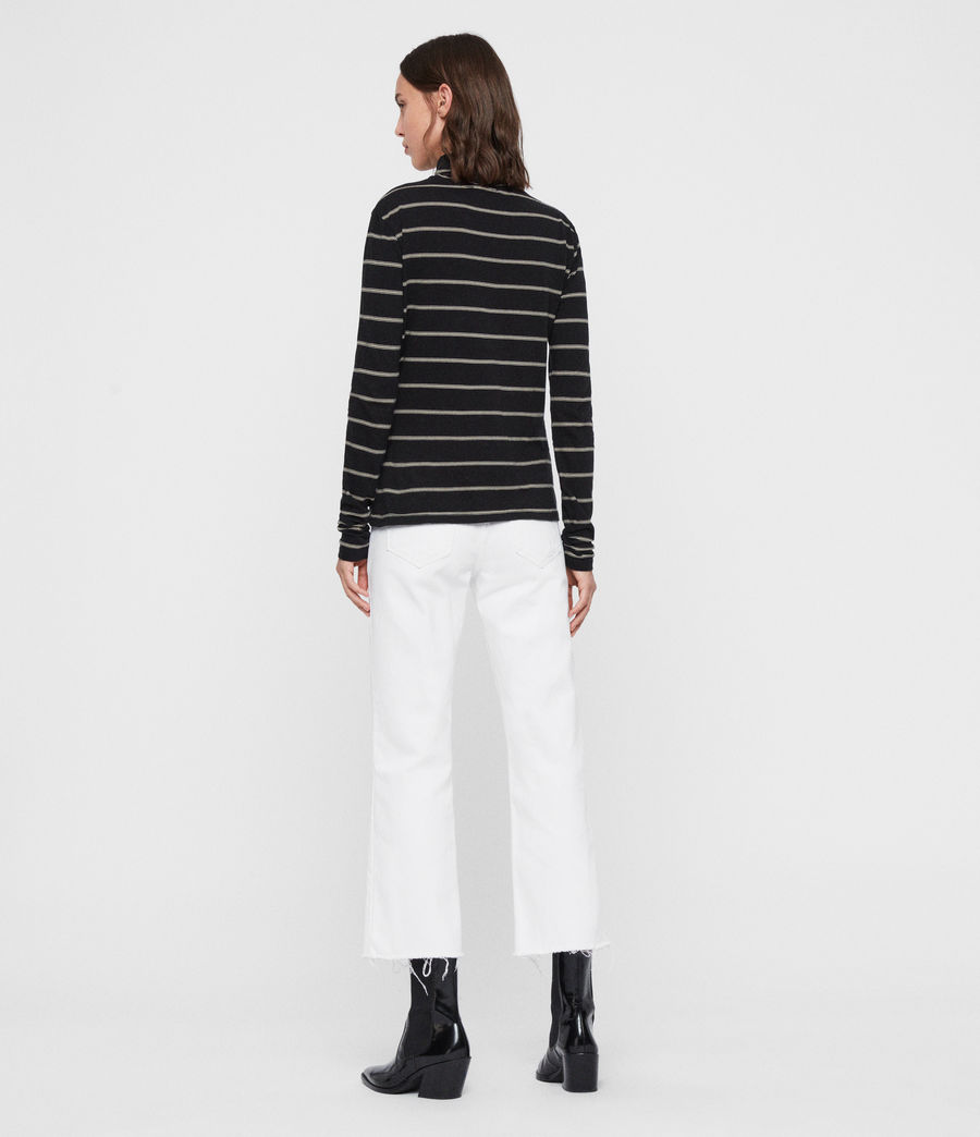 Women's Esme Stripe Roll Neck Top (black_ecru_white) - Image 5