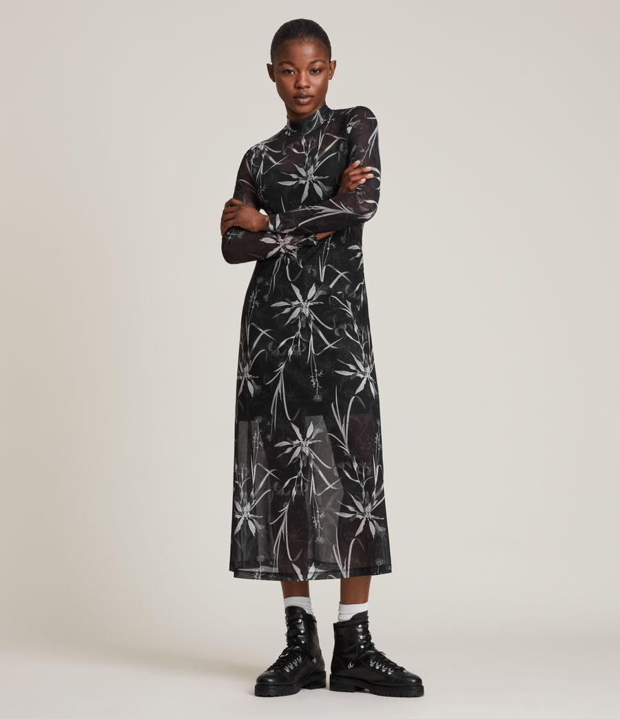 Womens Hanna Rutland Dress (black) - Image 4