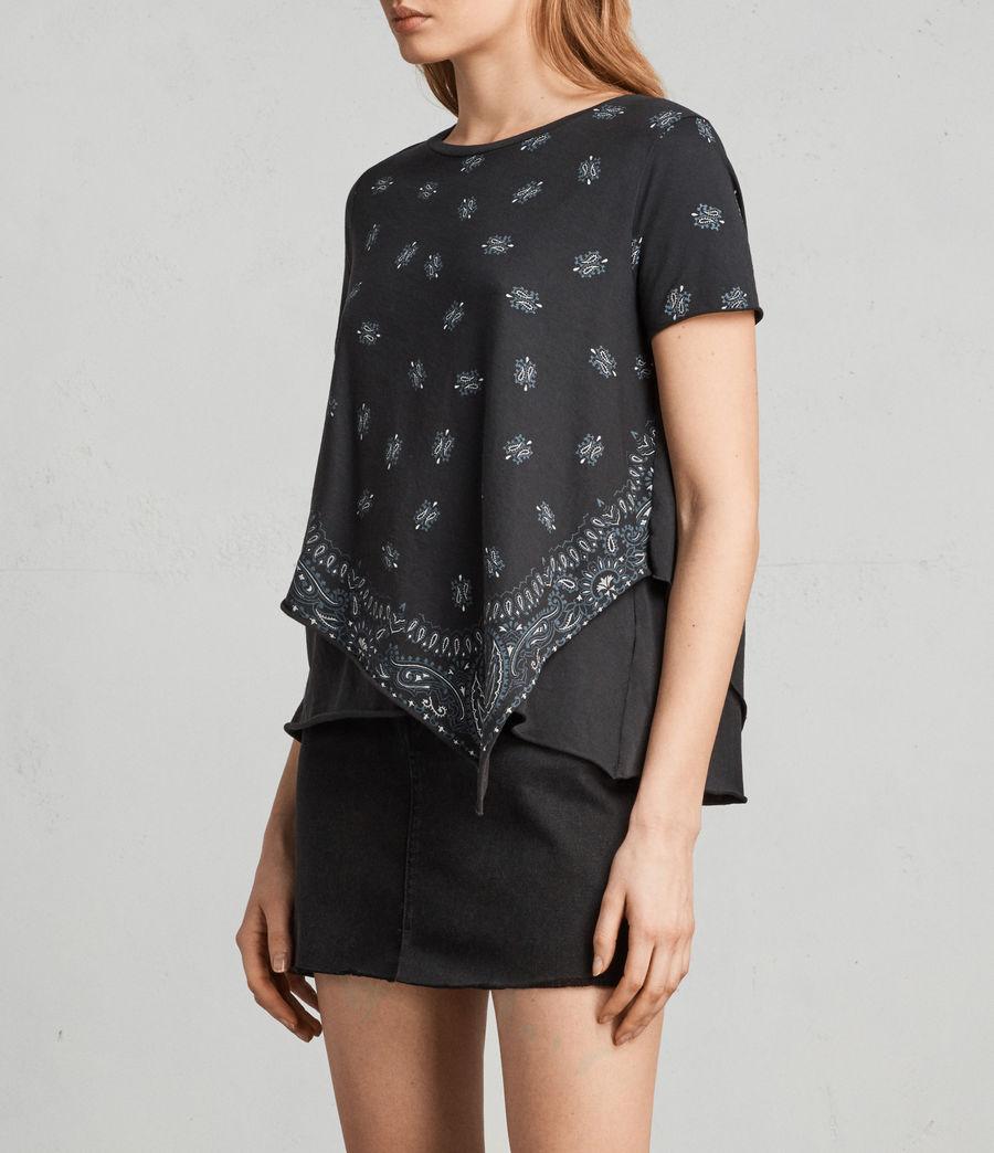 Damen Bandana Daisy T-Shirt (fadeout_black) - Image 3