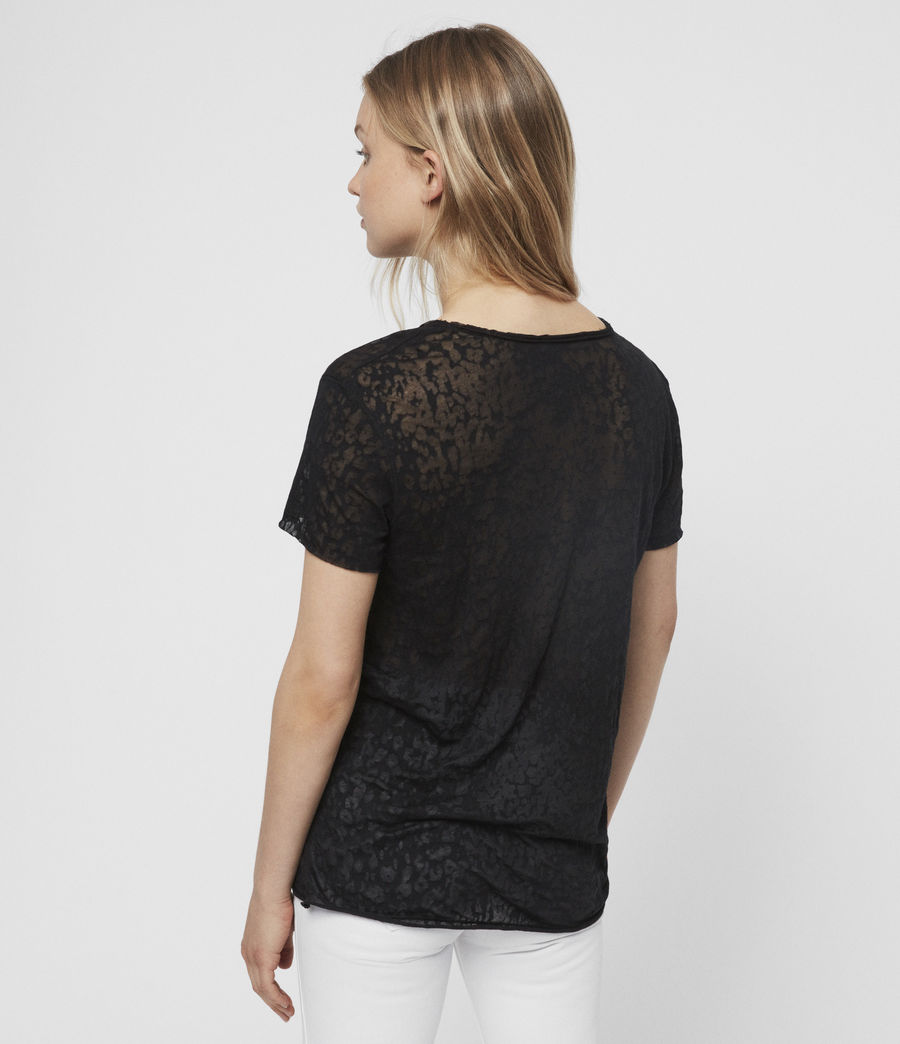 Womens Emelyn Leo T-Shirt (black) - Image 3