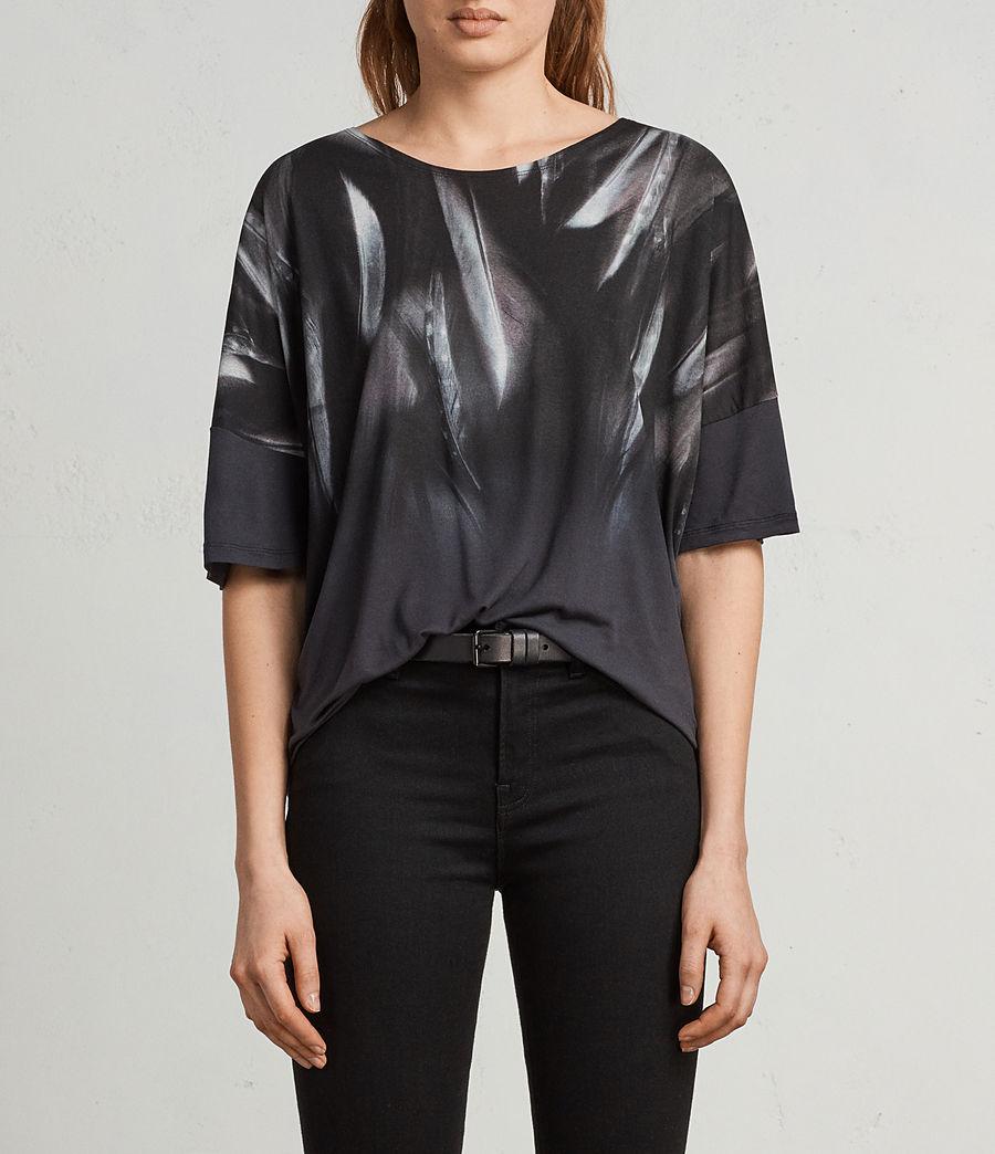 Femmes T-Shirt Plume Tru (washed_black) - Image 1